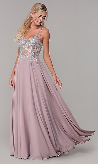 V-Neck Long Sleeveless Prom Dress with Beaded Bodice