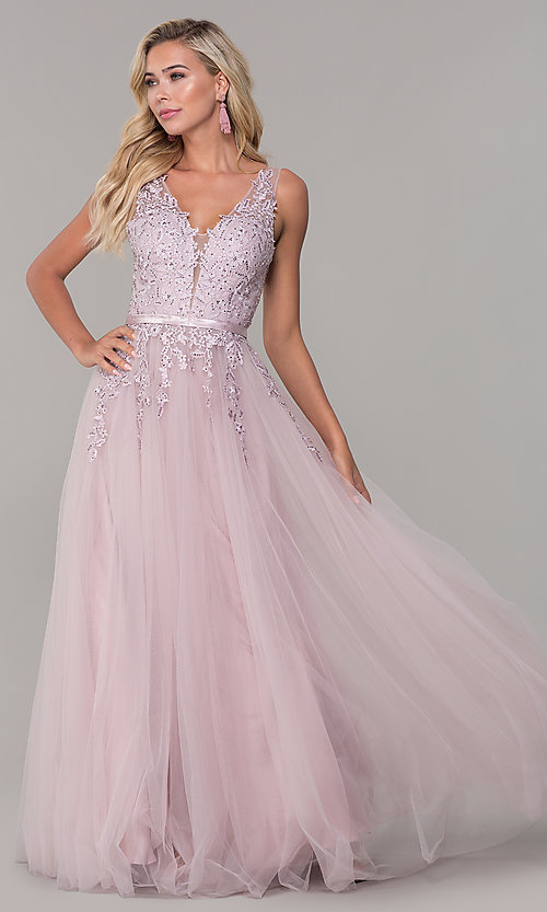 Image of long tulle prom dress with embroidered bodice. Style: DQ-2596 Front Image