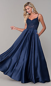 Image of long v-neck prom dress with embroidered bodice. Style: DQ-2459 Front Image