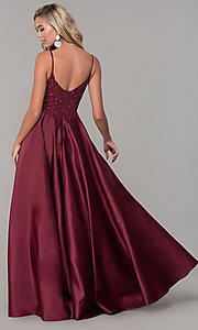 Image of long v-neck prom dress with embroidered bodice. Style: DQ-2459 Detail Image 4