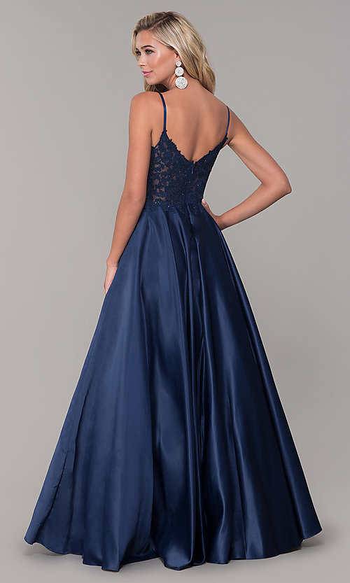 Image of long v-neck prom dress with embroidered bodice. Style: DQ-2459 Back Image