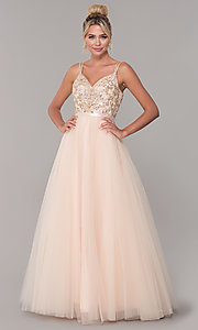 Image of long tulle prom dress with v-neck beaded bodice.  Style: DQ-2519 Detail Image 1