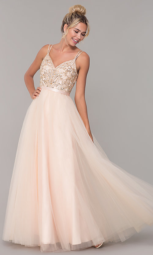 Image of long tulle prom dress with v-neck beaded bodice.  Style: DQ-2519 Front Image