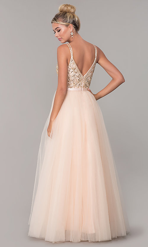 Image of long tulle prom dress with v-neck beaded bodice.  Style: DQ-2519 Back Image