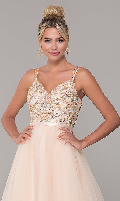 Image of long tulle prom dress with v-neck beaded bodice.  Style: DQ-2519 Detail Image 2