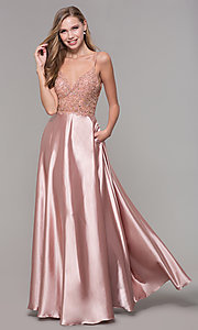 Image of beaded-bodice long v-neck prom dress in rose gold. Style: DQ-2614 Front Image