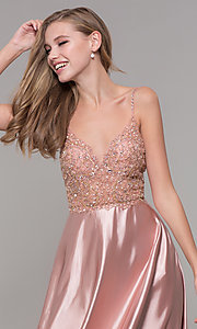 Image of beaded-bodice long v-neck prom dress in rose gold. Style: DQ-2614 Detail Image 1