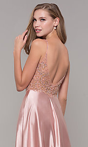 Image of beaded-bodice long v-neck prom dress in rose gold. Style: DQ-2614 Detail Image 2