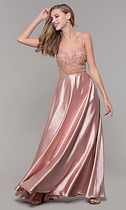 Image of beaded-bodice long v-neck prom dress in rose gold. Style: DQ-2614 Detail Image 3