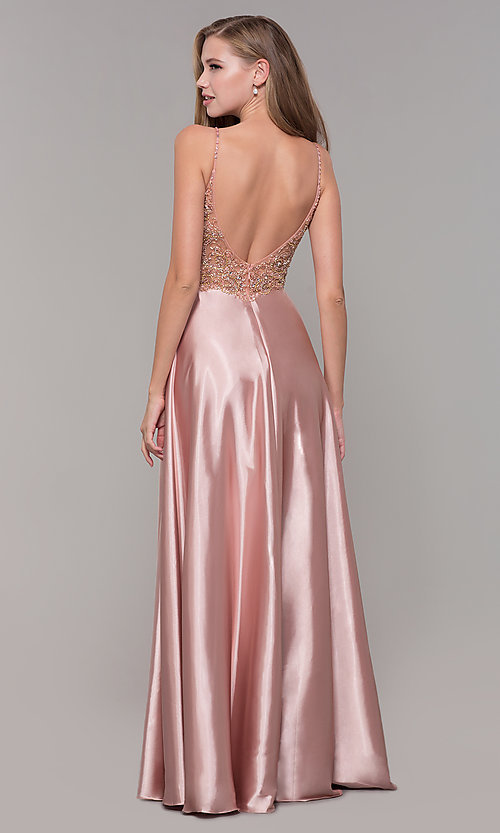 Image of beaded-bodice long v-neck prom dress in rose gold. Style: DQ-2614 Back Image