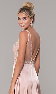 Image of long rose gold v-neck prom dress by PromGirl. Style: DQ-PL-2693 Detail Image 2