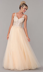 Image of tulle long prom dress with embroidered bodice. Style: DQ-2511 Detail Image 4