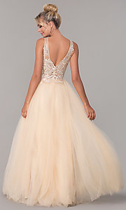 Image of tulle long prom dress with embroidered bodice. Style: DQ-2511 Detail Image 5