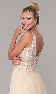 Image of tulle long prom dress with embroidered bodice. Style: DQ-2511 Detail Image 7