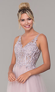 Image of tulle long prom dress with embroidered bodice. Style: DQ-2511 Detail Image 1
