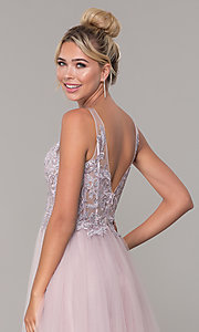 Image of tulle long prom dress with embroidered bodice. Style: DQ-2511 Detail Image 2