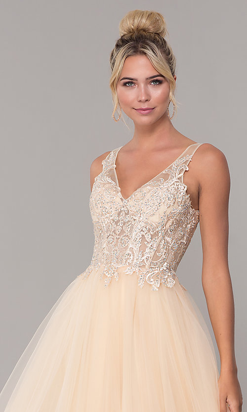 Image of tulle long prom dress with embroidered bodice. Style: DQ-2511 Detail Image 6
