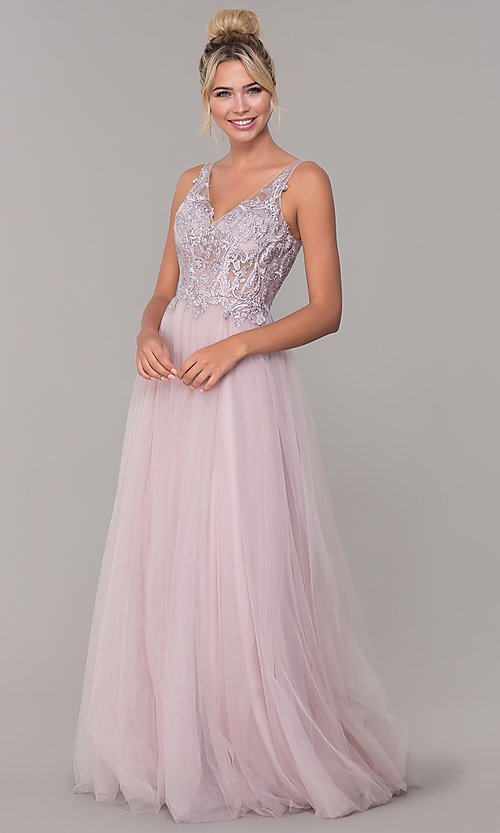 Image of tulle long prom dress with embroidered bodice. Style: DQ-2511 Detail Image 3