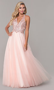 Image of long v-neck tulle prom dress with beaded bodice. Style: DQ-2532 Detail Image 4