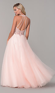 Image of long v-neck tulle prom dress with beaded bodice. Style: DQ-2532 Detail Image 5