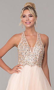 Image of long v-neck tulle prom dress with beaded bodice. Style: DQ-2532 Detail Image 1