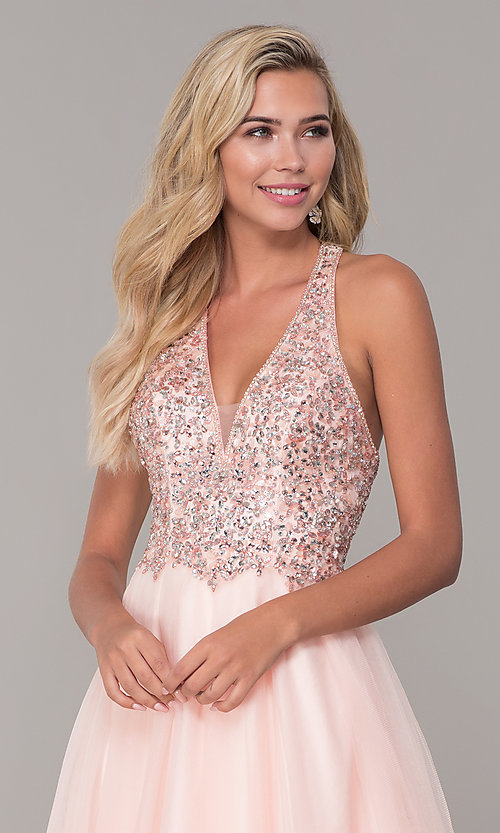 Image of long v-neck tulle prom dress with beaded bodice. Style: DQ-2532 Detail Image 6