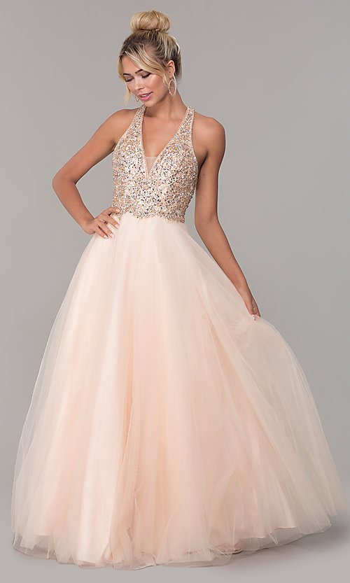 Image of long v-neck tulle prom dress with beaded bodice. Style: DQ-2532 Front Image