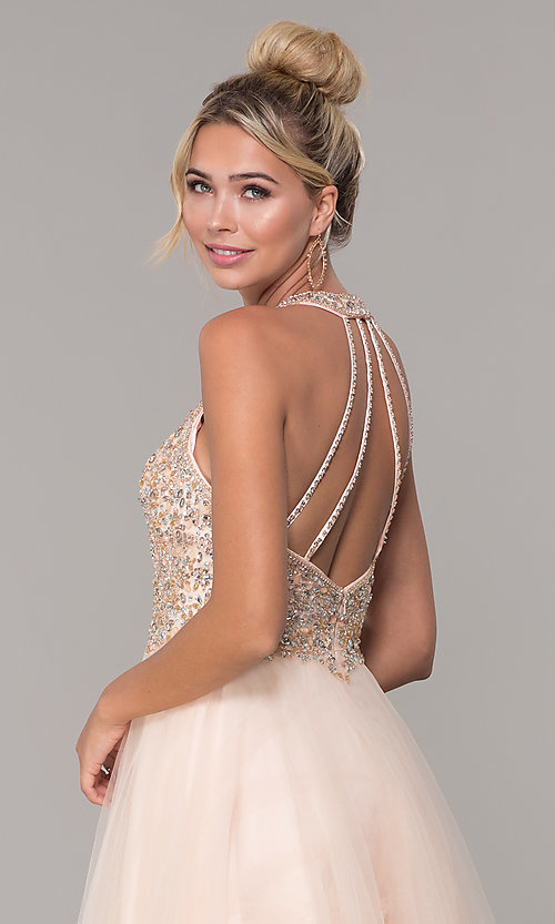 Image of long v-neck tulle prom dress with beaded bodice. Style: DQ-2532 Detail Image 2