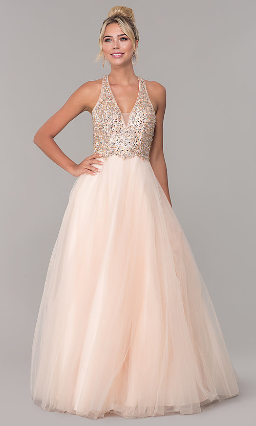 Image of long v-neck tulle prom dress with beaded bodice. Style: DQ-2532 Detail Image 3
