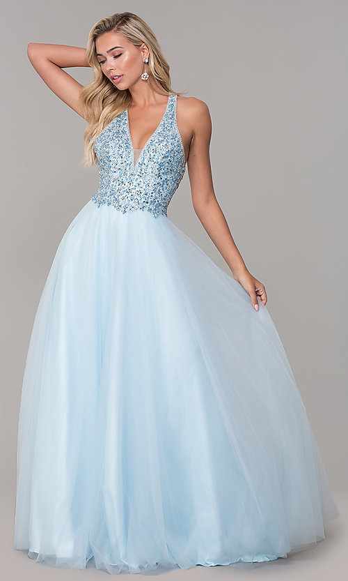 Image of long v-neck tulle prom dress with beaded bodice. Style: DQ-2532 Detail Image 7
