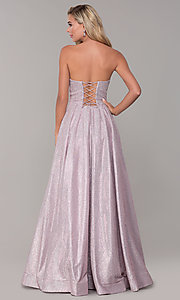 Image of dusty pink long strapless glitter prom dress. Style: DQ-2651 Back Image