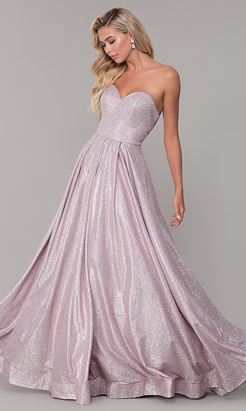 Image of dusty pink long strapless glitter prom dress. Style: DQ-2651 Front Image