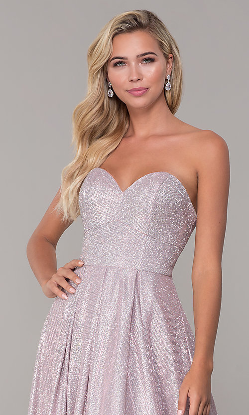 Image of dusty pink long strapless glitter prom dress. Style: DQ-2651 Detail Image 1