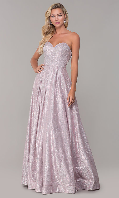 Image of dusty pink long strapless glitter prom dress. Style: DQ-2651 Detail Image 3