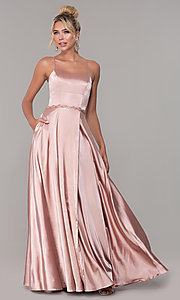 Image of long satin prom dress with pockets and beaded waist. Style: DQ-2652 Front Image