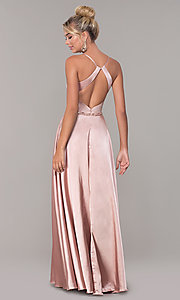 Image of long satin prom dress with pockets and beaded waist. Style: DQ-2652 Back Image