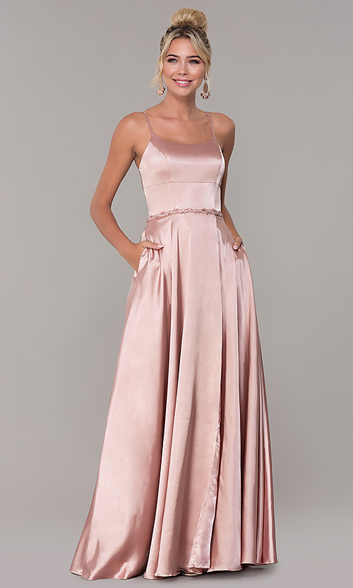 Image of long satin prom dress with pockets and beaded waist. Style: DQ-2652 Detail Image 3