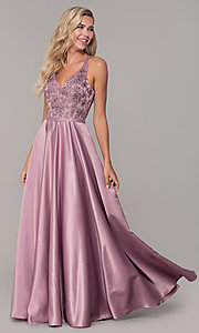 Image of long v-neck prom dress with strappy embroidered bodice. Style: DQ-2542 Front Image