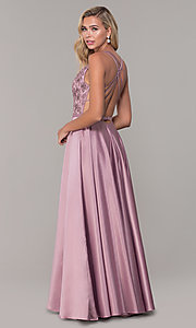 Image of long v-neck prom dress with strappy embroidered bodice. Style: DQ-2542 Back Image