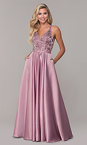 Image of long v-neck prom dress with strappy embroidered bodice. Style: DQ-2542 Detail Image 3