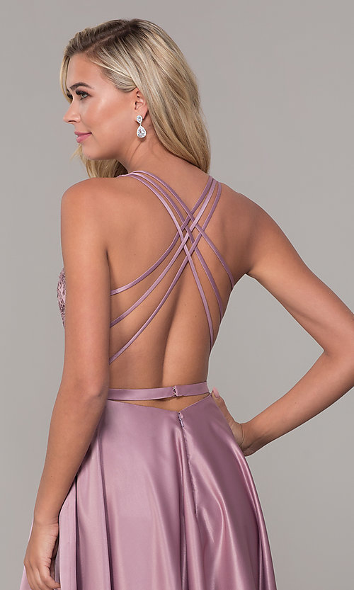 Image of long v-neck prom dress with strappy embroidered bodice. Style: DQ-2542 Detail Image 2