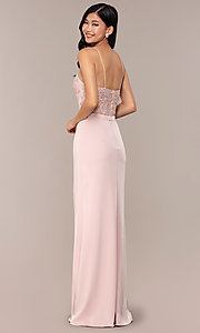 Image of long sweetheart prom dress with lace bodice. Style: DQ-2631 Back Image