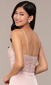 Image of long sweetheart prom dress with lace bodice. Style: DQ-2631 Detail Image 2