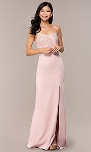 Image of long sweetheart prom dress with lace bodice. Style: DQ-2631 Detail Image 3