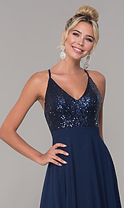Image of open-back long v-neck prom dress with sequins. Style: DQ-2680 Detail Image 1