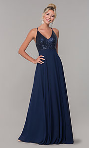 Image of open-back long v-neck prom dress with sequins. Style: DQ-2680 Detail Image 3