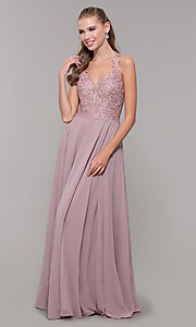 Image of long sleeveless prom dress with embroidered bodice. Style: DQ-2621 Detail Image 3