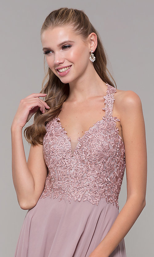 Image of long sleeveless prom dress with embroidered bodice. Style: DQ-2621 Detail Image 1