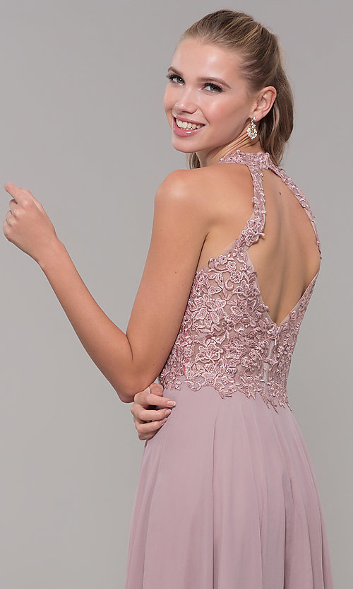 Image of long sleeveless prom dress with embroidered bodice. Style: DQ-2621 Detail Image 2