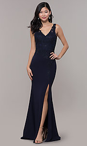 Image of embroidered long v-neck prom dress. Style: DQ-2622 Front Image